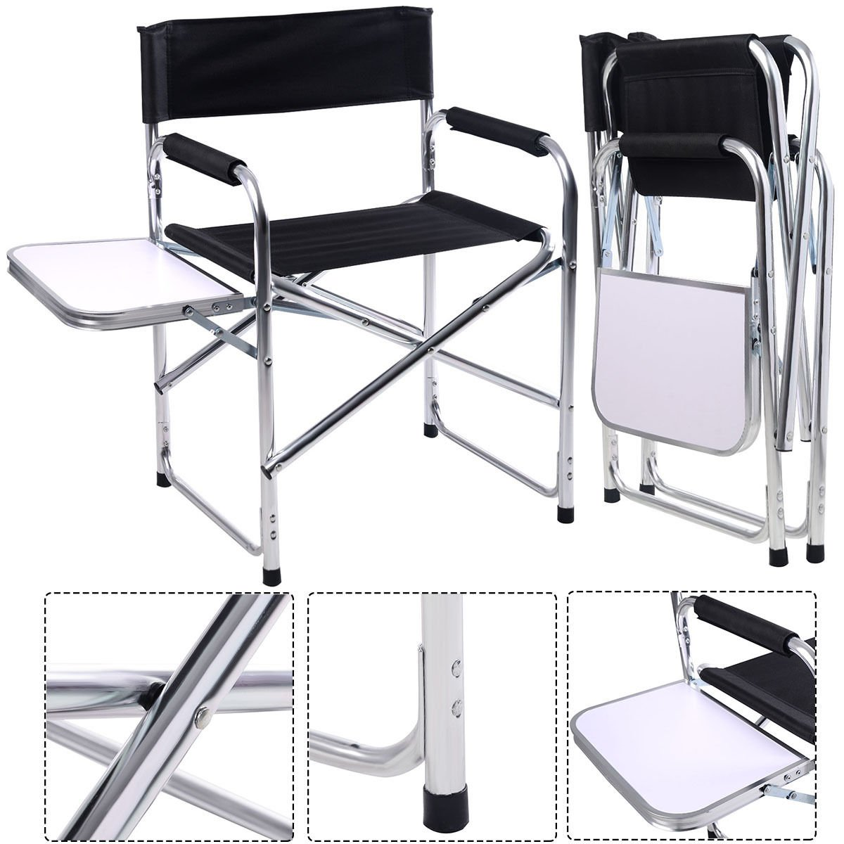 GHP Aluminum Frame Folding Director's Chair with Side Table 21 3/5 x 18 1/2 x 30 3/4