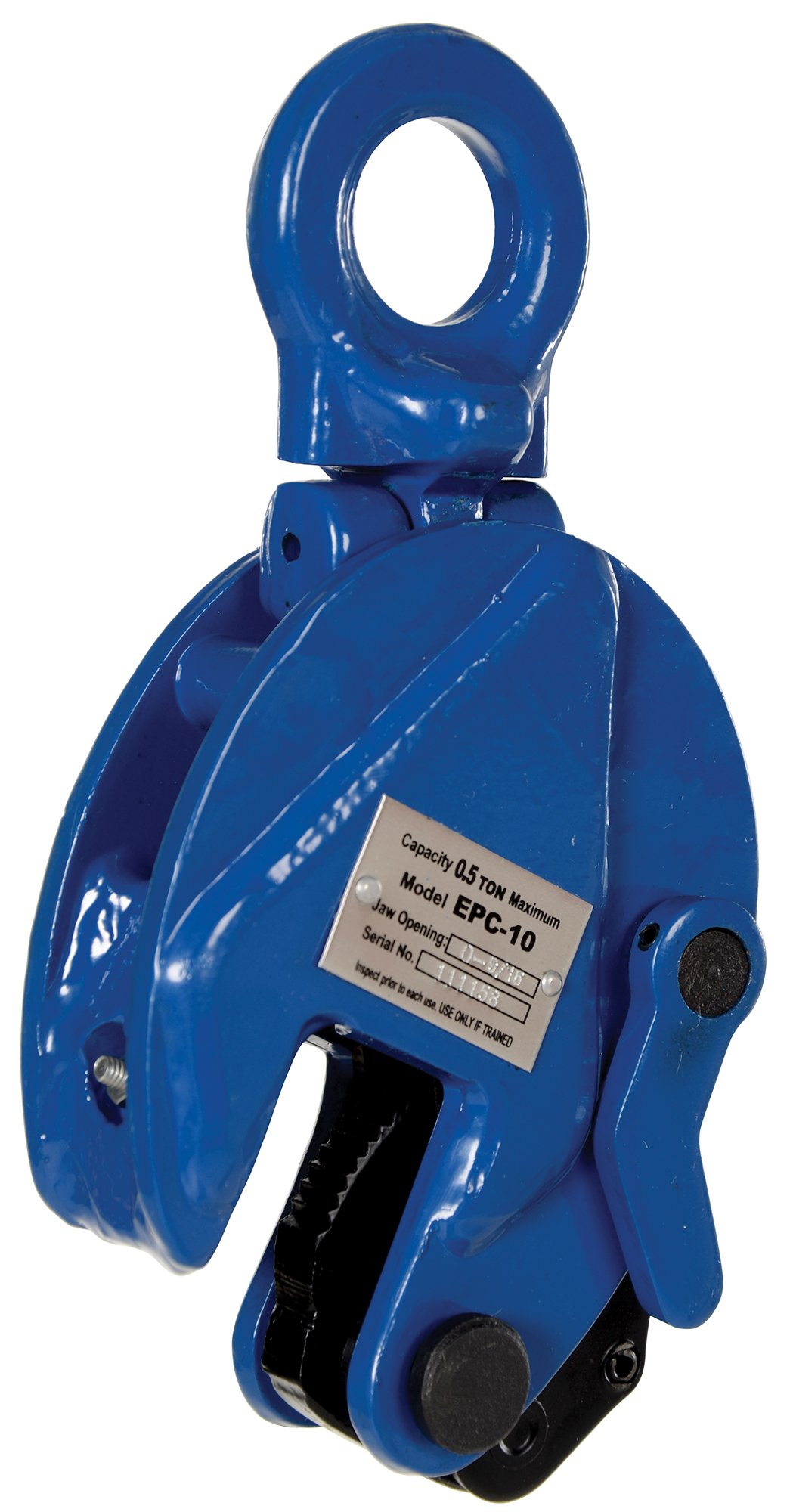 Vestil EPC-10 Vertical Plate Clamp, 0.60'' Plate Thickness, 1000 lbs Working Load Limit, 1.81'' Bale Opening