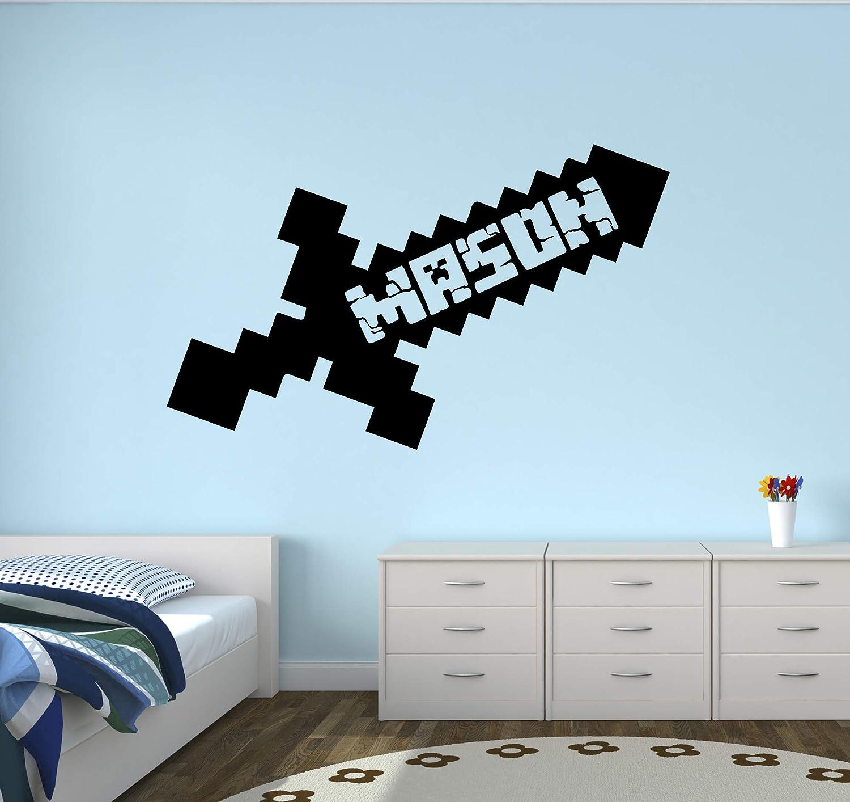 "Custom Video Gamer Name Wall Decal - Gaming Sword Wall Decal - Bedroom Kids Wall Decor Sword Boy Art Mural Vinyl Sticker (22""W x 14""H)"