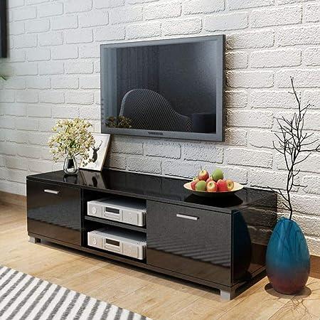 UnfadeMemory Mueble para TV,Mesa para TV,Decoración de Dormitorio,con 2 Repisas y 2 Compartimientos,Estilo Moderno,MDF (Negro Brillante, 140x40,3x34,7cm): Amazon.es: Hogar