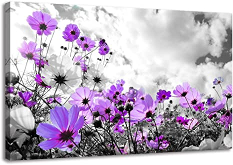 Ruishi Modern Purple Flowers Canvas Art Wall Decor Black And White Framed Galsang Floral Prints And Posters Wall Hanging Decorations Ready To Hang For Bedroom Bathroom Purple 16x24inx1 Posters Prints