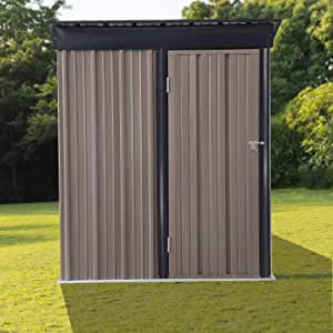 6'x5' Outdoor Storage Shed Small Galvanized Steel Waterproof Tool House for Tools in Backyard Garden