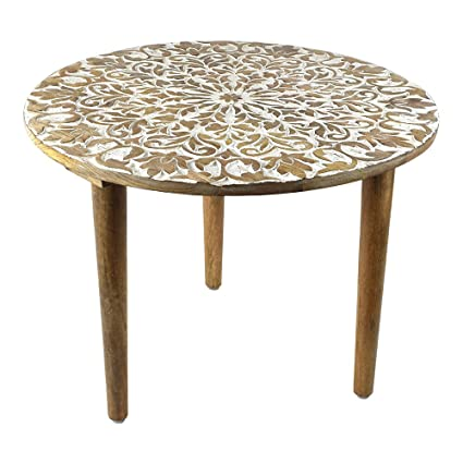 Indian Heritage   Wooden Round Table 24x24u0026quot; Carved Mango Wood In White  And Natural Wood