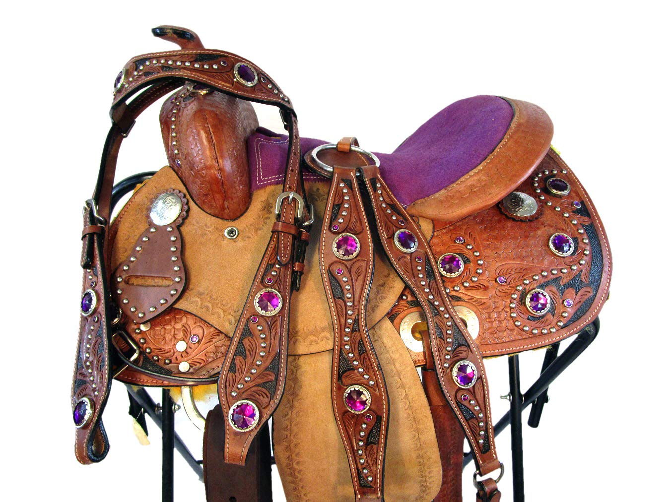 12 13 Ponyユースキッズ子Showパープルピンク子供キッズMini Trail PleasureレザーWestern Horseサドル( 13 ) 12  B072FL7SRK