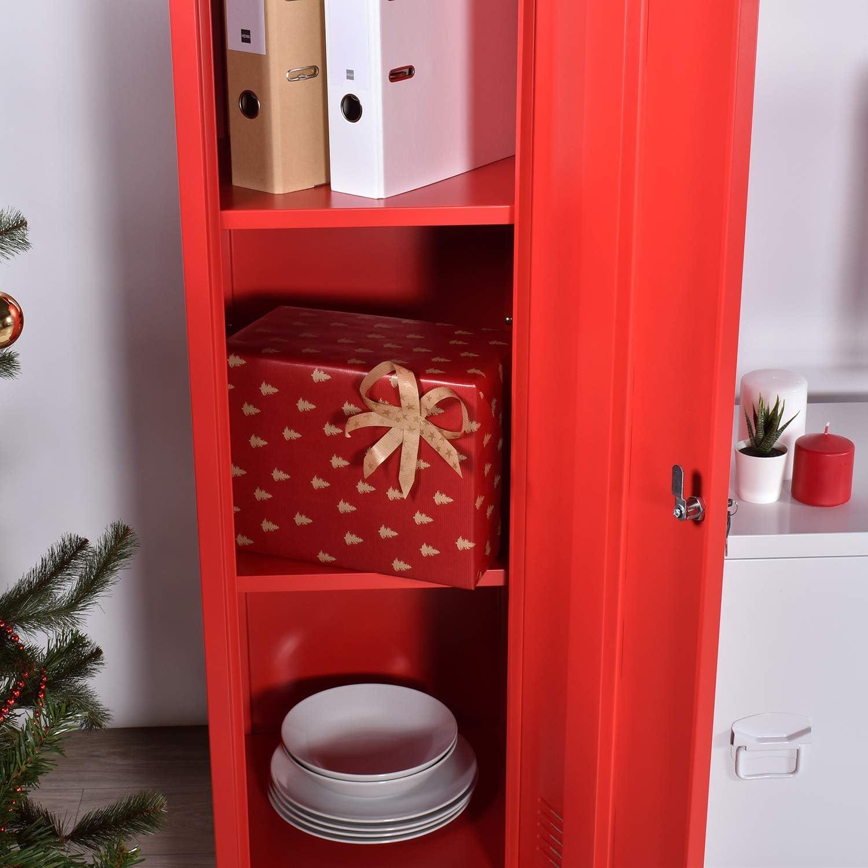 Armoire /& vestiaire /à casier en m/étal gris style industriel meuble de rangement avec un verrouillage par la porte