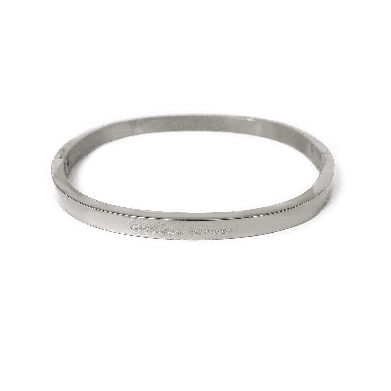 Couleurs au Choix AURSTORE/® Bracelet Enfant Jonc Fin en Acier Inoxydable 316L avec Message Largeur 4 mm,Taille Enfant,Fille et gar/çon
