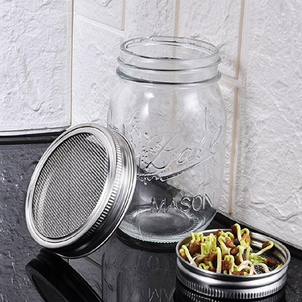 KOBWA Juego de 2 tarros de acero inoxidable con tapa para frasco de malla curvada para jarros de boca ancha o tarros para hacer semillas orgánicas en casa o ...