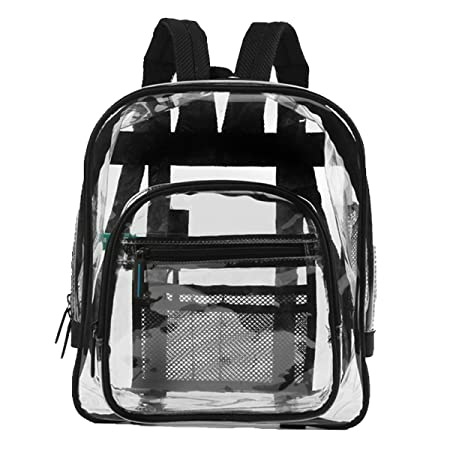 Heavy Duty Clear Backpacks For Adults, Men, Women and Kids – Perfect for School and Work – 3 Sizes Black or Pink