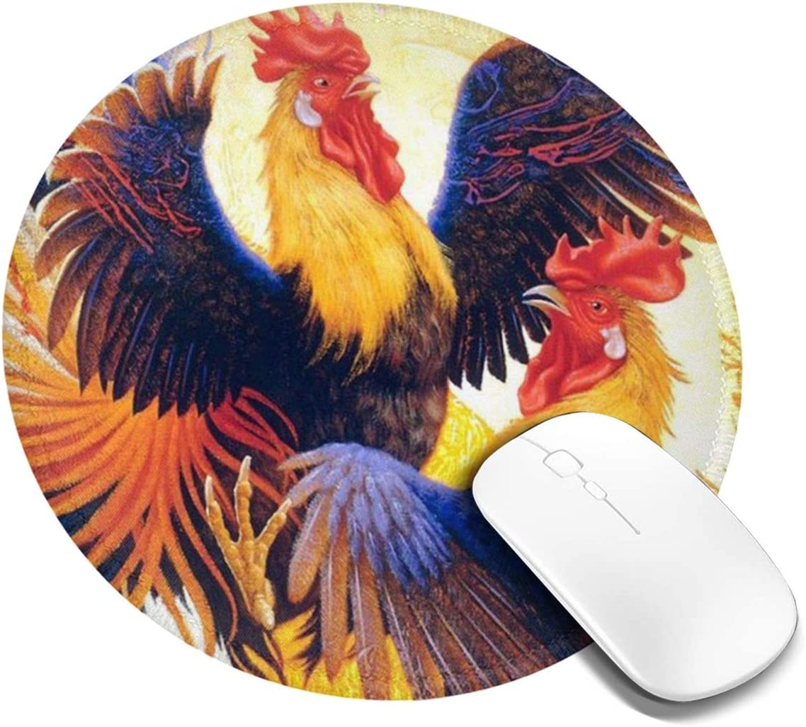 Non Slip Mousepad Fighting Morning Rooster Cock Round Mouse Pad 7.9in