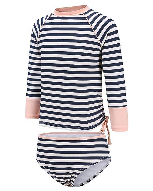 51b65906865aa HowJoJo Big Girls Two Piece Long Sleeve Rash Guard UPF 50+ Sun Proctection  Swimsuits Size