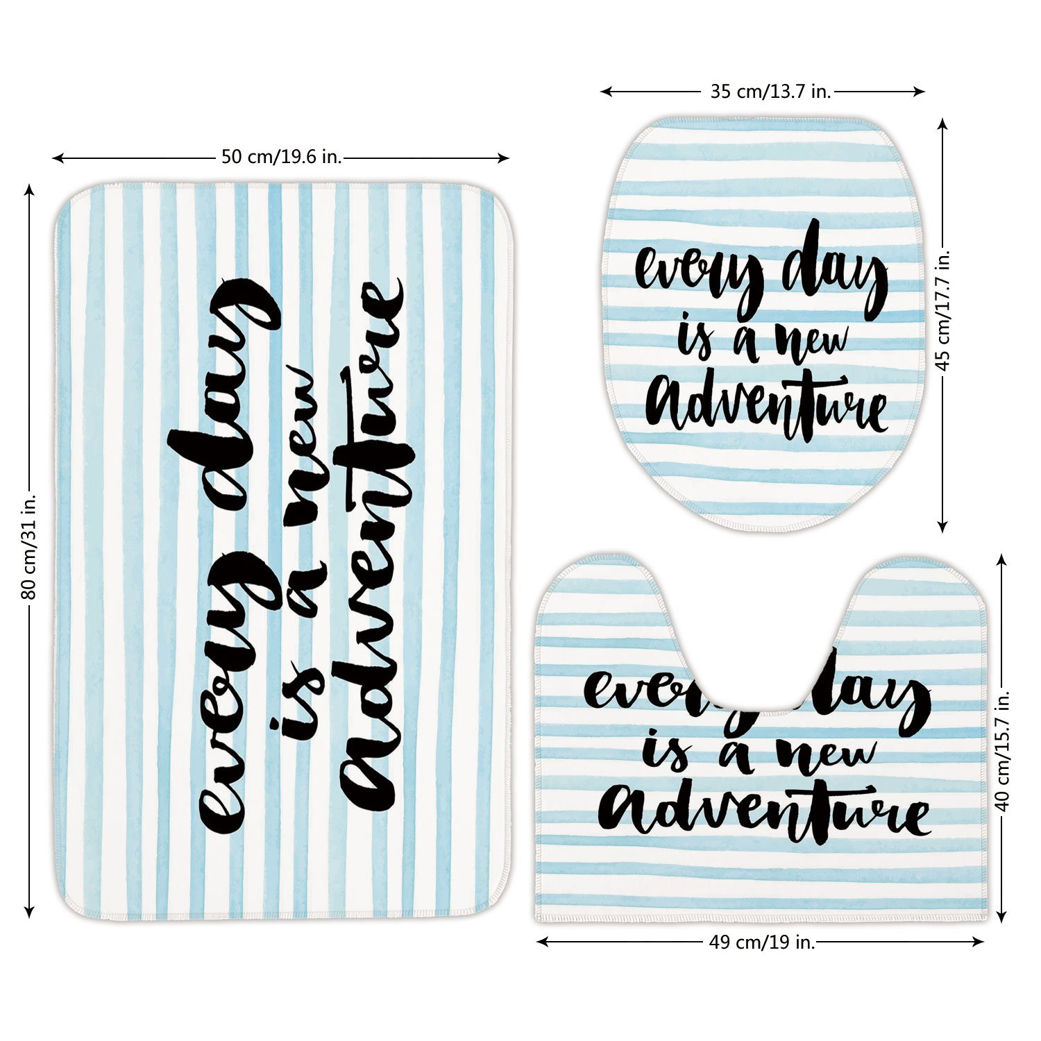 3 Piece Bathroom Mat Set,Adventure,Every Day is a New Adventure Quote Inspirational Things About Life Artwork,Baby Blue Black,Bath Mat,Bathroom Carpet Rug,Non-Slip