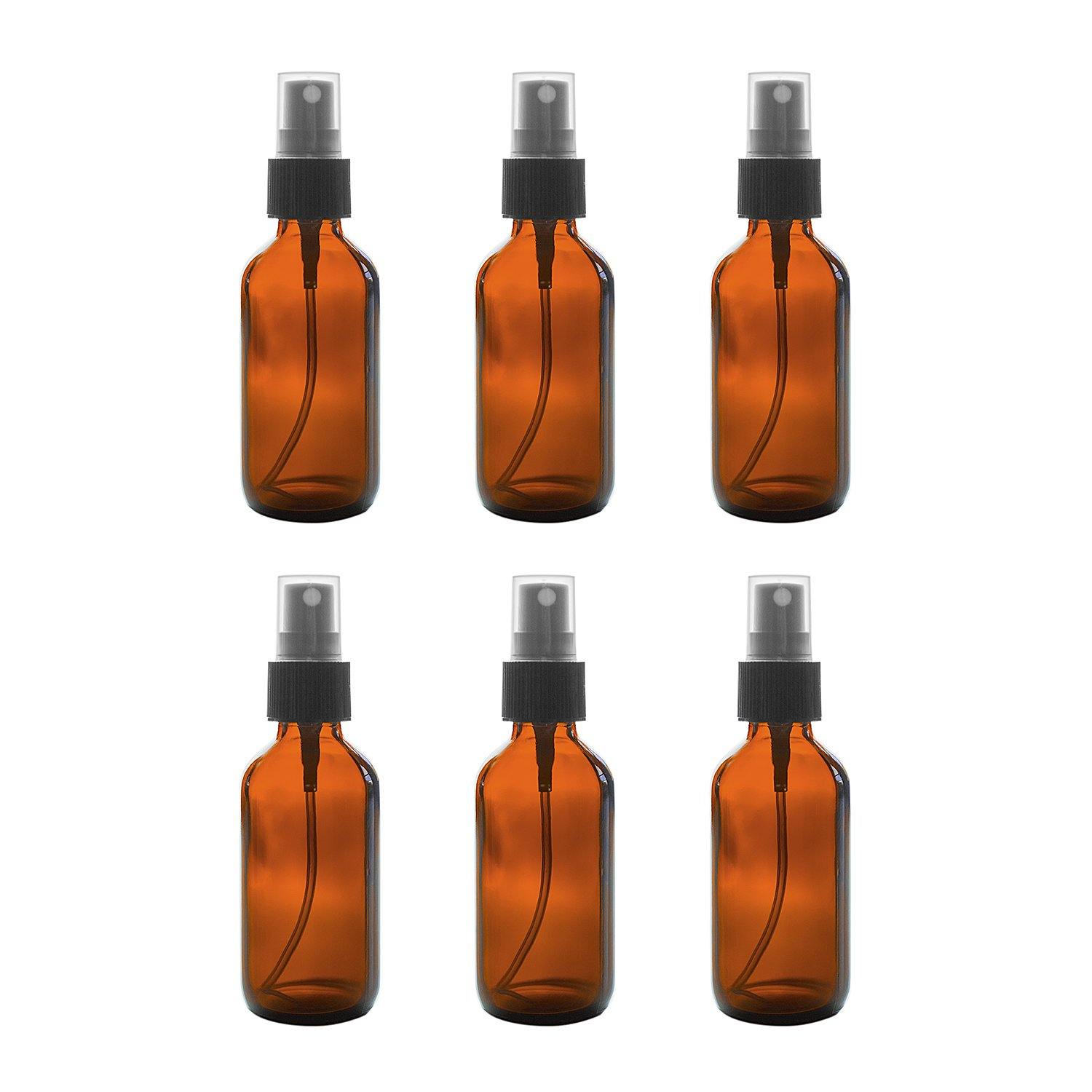 2 oz Amber Boston Round Glass Bottle with Fine Mist Sprayer Dispenser for Essential Oils, Chemistry Lab Chemicals, Colognes & Perfumes (6 Pack): Industrial & Scientific