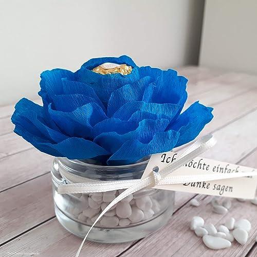 Personalisierte Blaue Rose Blume Mit Schokolade Geschenk Tischdeko