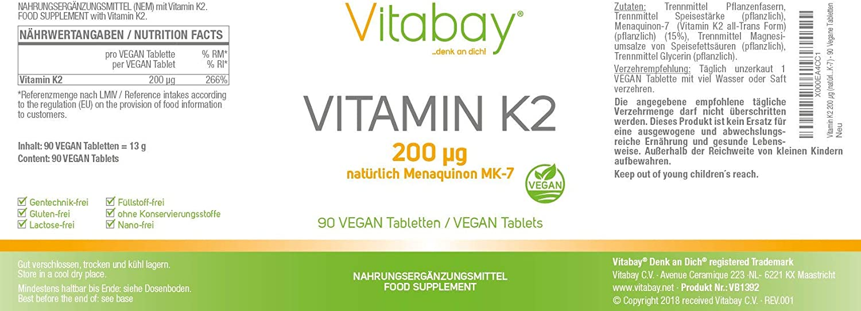Vitaminas K2 200 g (menaquinona MK-7 natural) – 90 comprimidos vegetales: Amazon.es: Salud y cuidado personal