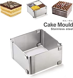 Adjustable Square Cake Mold Ring, 4-6 Inch Small Stainless Steel Mousse Mold for Baking, Pastry and Dessert Mould Tool