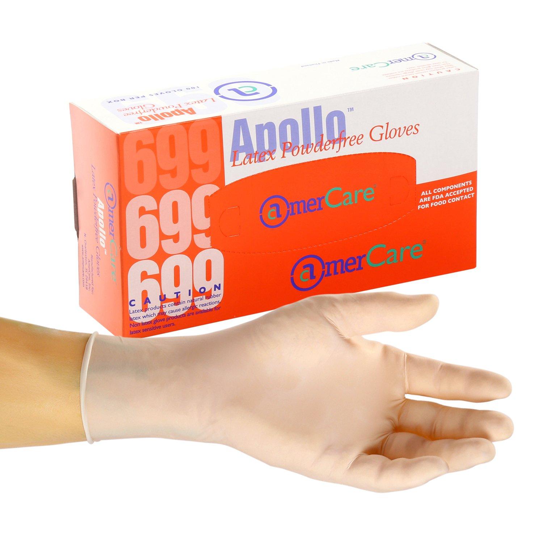 AmerCare Apollo Latex Gloves, Powder Free, Medium, Case of 1000