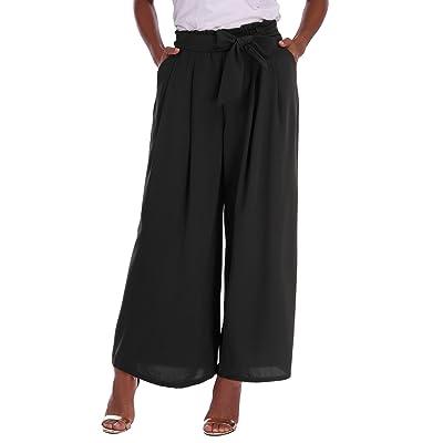 Abollria Pantalones Elegantes para Mujer, Pantalones de Pierna Ancha con Cintura Alta, Pantalón Ancho y Ligero para Primavera Verano: Ropa y accesorios