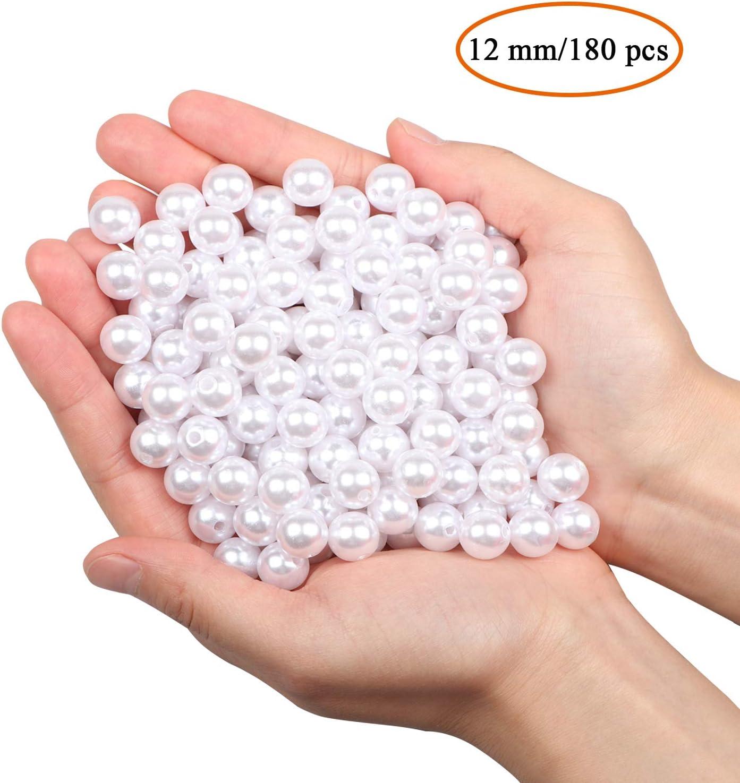 180PCS 12mm Perlas para manualidades perlas para coser plástico perlas decorativas para rellenos de jarrones/collares de/bricolaje de joyería/bodas/fiesta de/cumpleaños decoració/Decoración del hogar