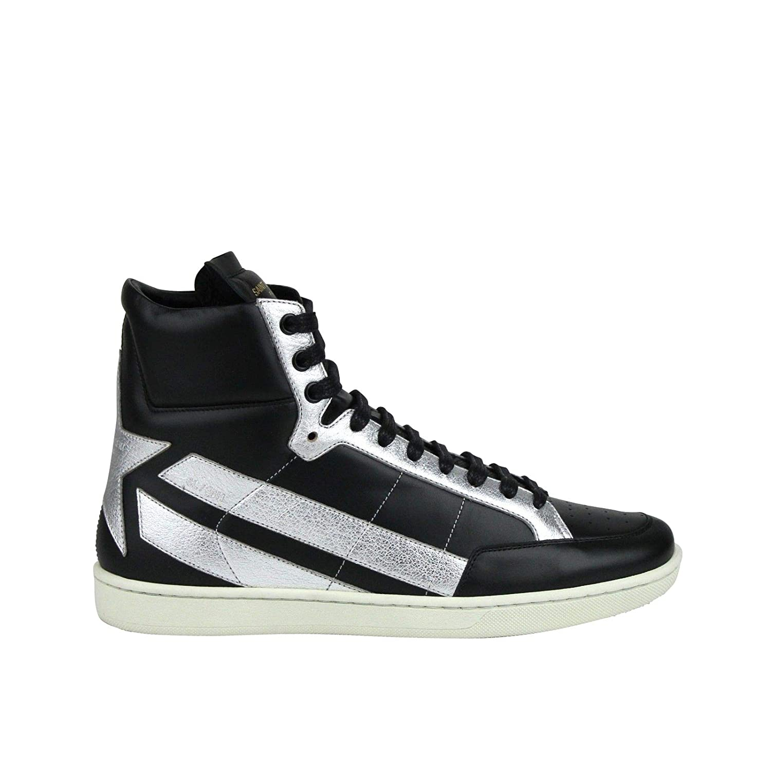 f67889e34bc Amazon.com | YSL Saint Laurent Hi Top Black/Silver Leather Sneakers 418044  1054 | Fashion Sneakers