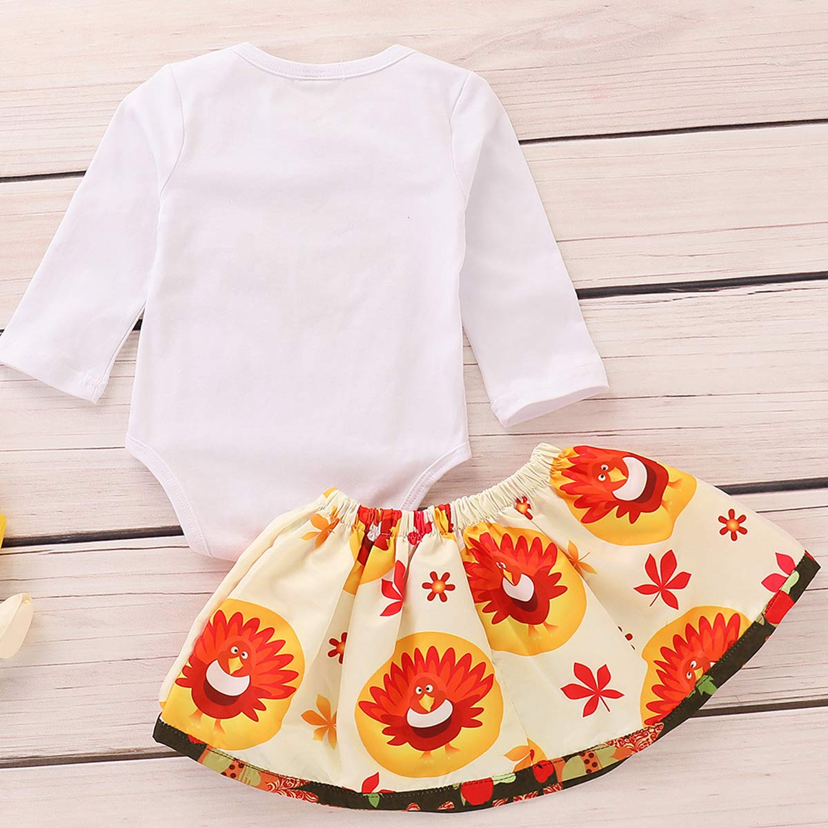 WOSENHK Newborn Baby Girls Thanksgiving Outfits Turkey Printed Long Sleeve Rompers+Bowknot Skirts 2pcs Clothes Set