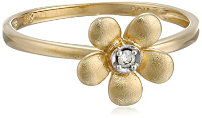 Amazon 10k yellow gold matte diamond flower ring 0019 cttw 10k yellow gold matte diamond flower ring 0019 cttw i j color i2 mightylinksfo
