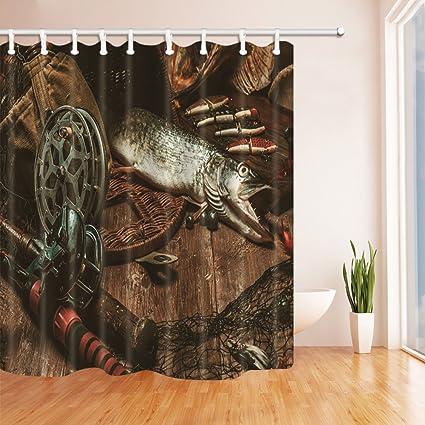 NYMB 3D Digital Printing Fish On Hooks Fishing Shower CurtainBait For Fisherman Creative