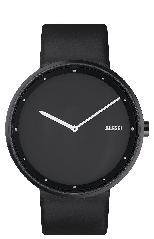 Alessi AL13003 Unisex Out Time Edelstahl-Lederband-Quarz-Multifunktions-Zifferblatt Uhr