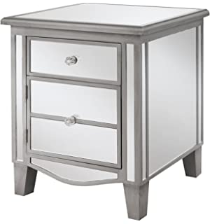 convenience concepts gold coast collection park lane mirrored end table silver