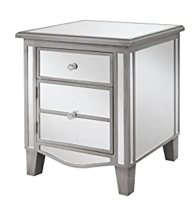 Convenience Concepts Gold Coast Collection Park Lane Mirrored End Table, Silver