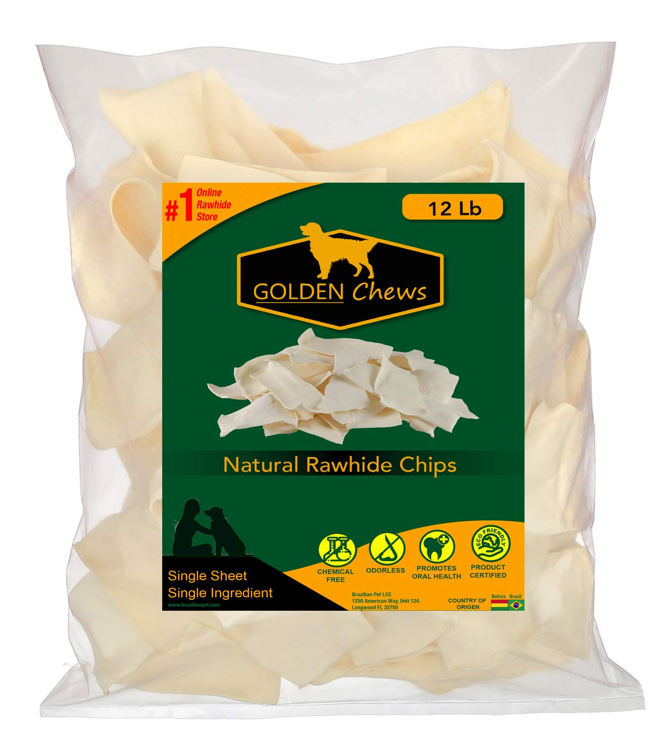Golden Chews Natural Rawhide Chips - Premium Long-Lasting Dog Treats with Thick Cut Beef Hides (12 Pounds) by Golden Chews