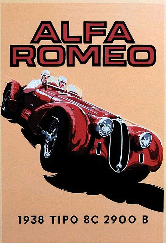 Kilburn Alfa Romeo 1938 Retro Creative Wall Decoration Personnalit/é Tendance Fond Simple Style Fer Peinture