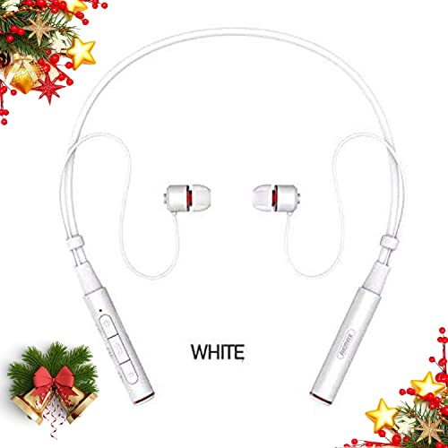 Sport Wireless Earphone, S6 Wireless Earbuds Neckband Magnetic Noise Cancelling Headset Sweatproof HD Stereo in-Ear Earphones with Mic for PC TV Gym Running Jogging – White