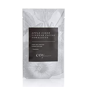 Facial Wipes - Natural Facial Toner, Makeup Remover Wipes, Facial Cleanser With Organic Apple Cider Vinegar and Other Natural Ingredients, Unscented, 30 Large Towelettes - by Coy Beauty