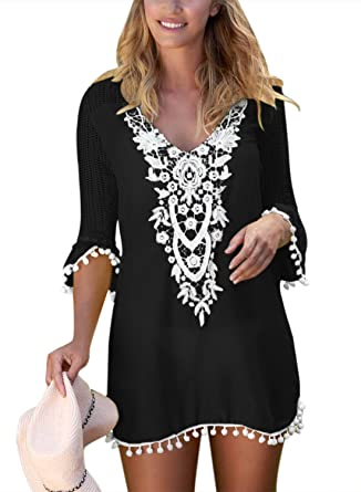 b4a30e53e3 BLENCOT Women s Crochet Chiffon Tassel Swimsuit Bikini Pom Pom Trim  Swimwear Beach Cover Up-Black