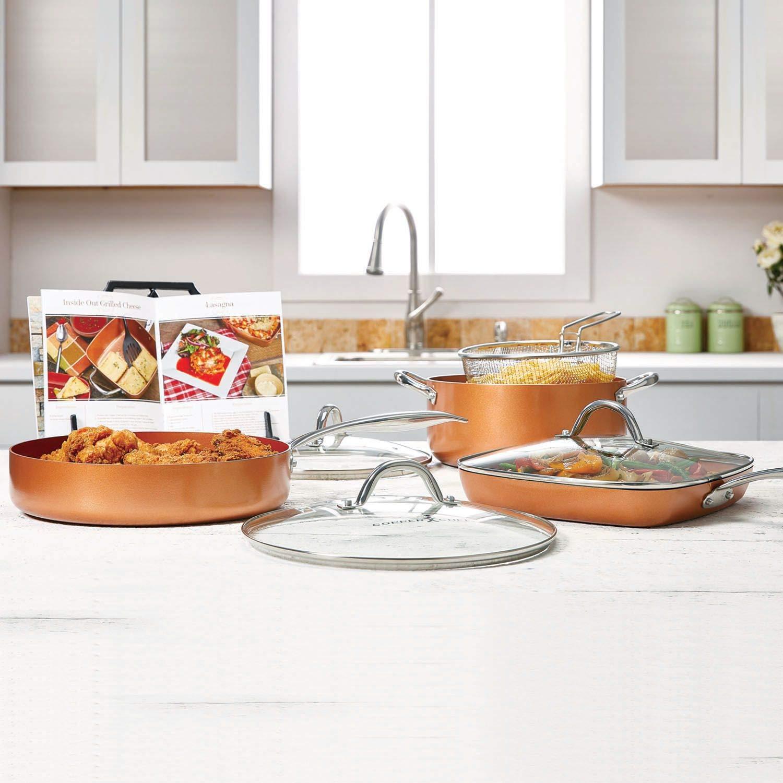 Cobre cacerola de uso pesado chef Pro 8 piezas conjunto: Amazon.es ...