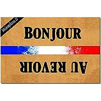 Msimplism.D Funny Doormat for Indoor Outdoor - French Bonjour Au Revoir Funny Front Doormat Entrance Floor Mat Non Slip…