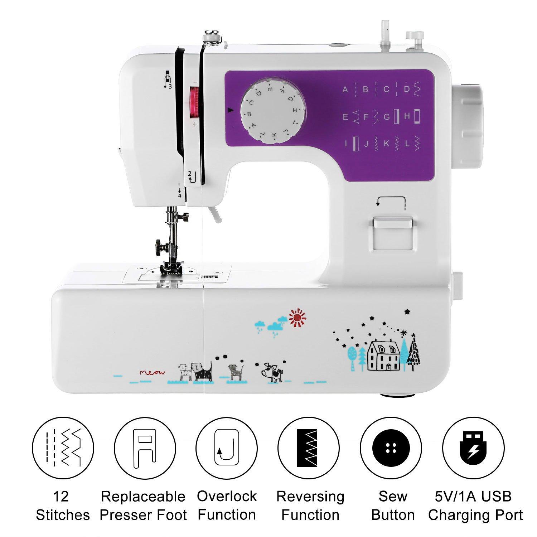 COOCHER - Máquina de coser con 12 programas, incluye programa de puntadas, función de doble arrastre y accesorios: Amazon.es: Hogar