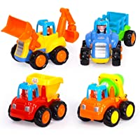 Smartcraft Happy Engineering Vehicles Push and Go Friction Powered Car Toys Set (Pack of 4)