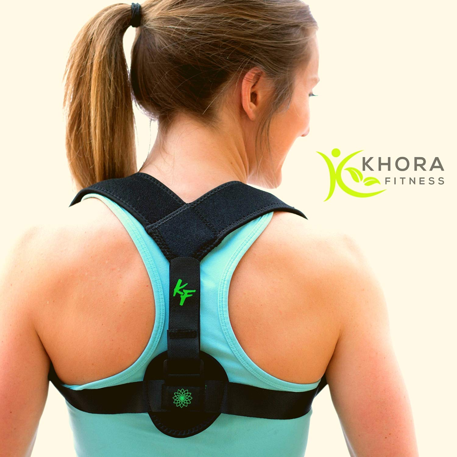 Khora Fitness Back Posture Corrector for Women - Adjustable Support - Breathable and Comfortable Under Clothes - Orthopedic and Therapeutic Shoulder/Back Correction and Straightening - Posture Trainer