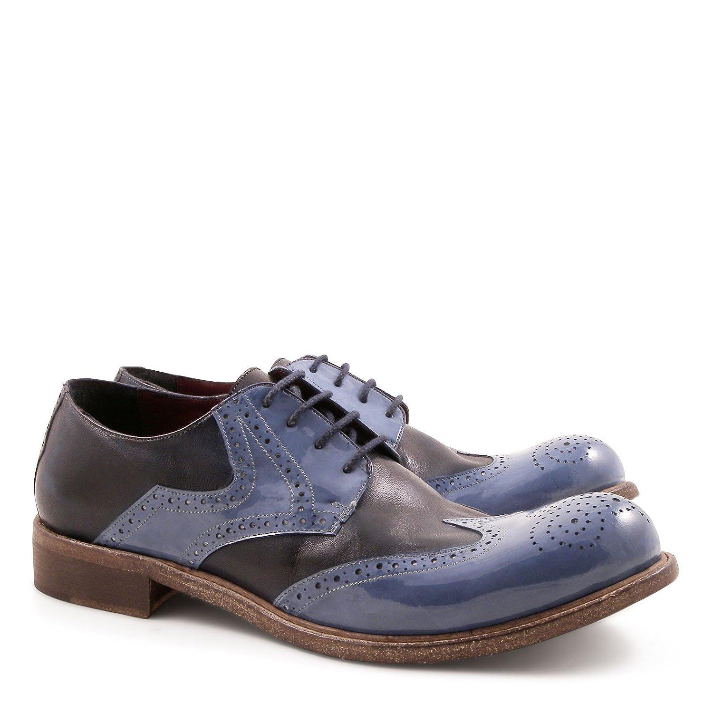 Leonardo Leonardo Leonardo Zapatos Hombre 84027PAPUABLU Azul/Negro Cuero Zapatos De Cordones 533109