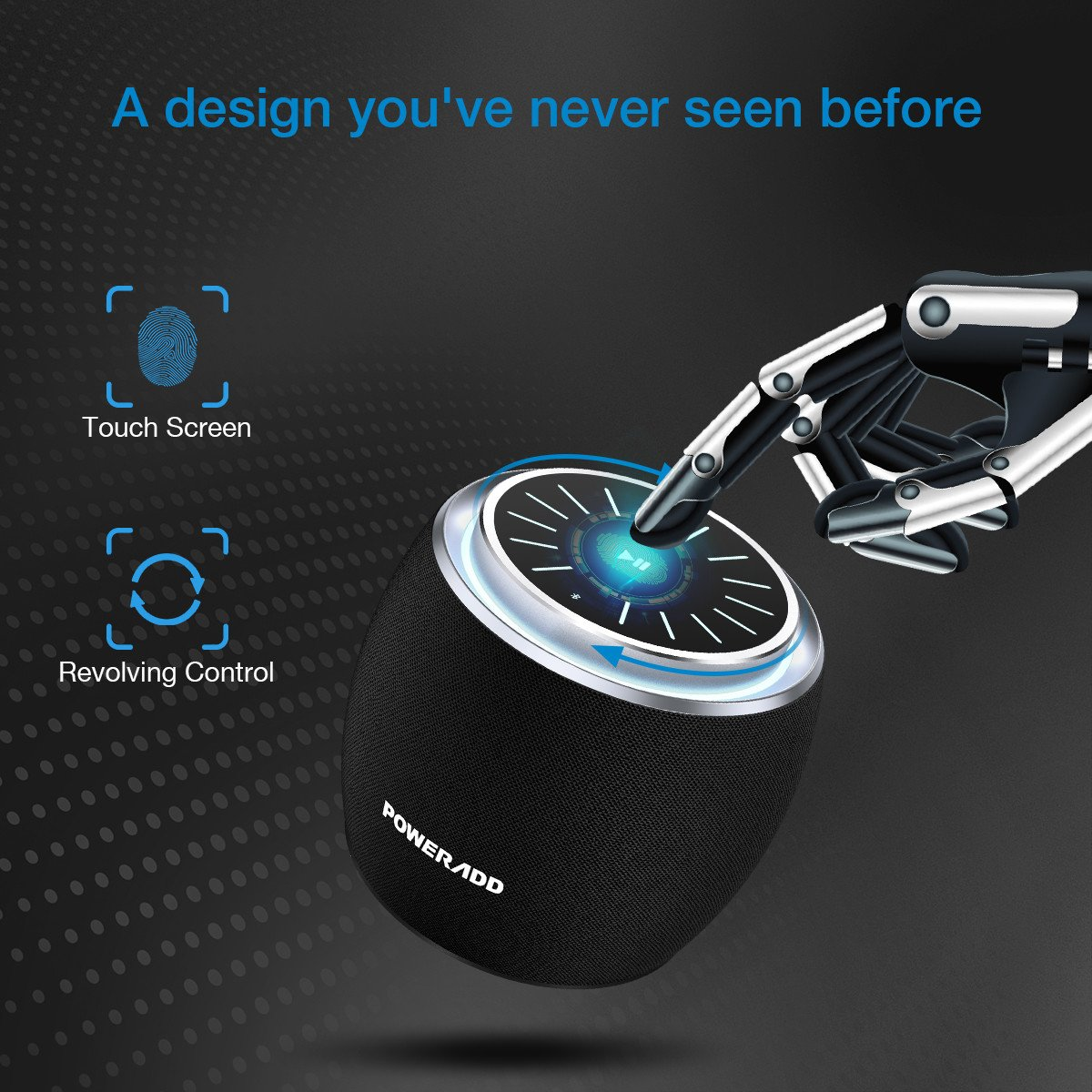 Bluetooth Speaker, Poweradd Dee-G Mini Portable Bluetooth Speaker, LED Touch Control with Impressive Sound, Rotate Plate Control Volume, 1200mAh Battery, Works with iPhone, iPad, Samsung, HTC, Android
