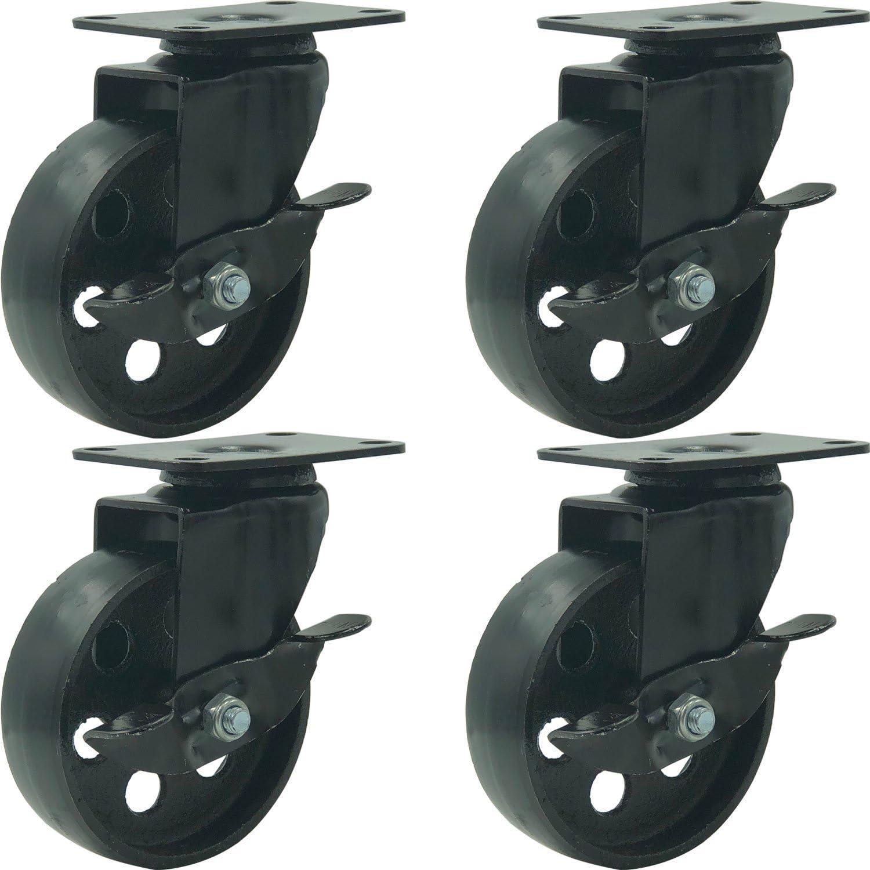"""FactorDuty 4 All Black Metal Swivel Plate Caster Wheels w/Brake Lock Heavy Duty High-Gauge Steel (4"""" with Brake)"""