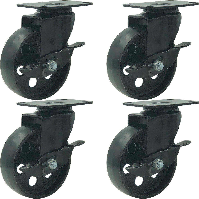 FactorDuty 4 All Black Metal Swivel Plate Caster Wheels w/Brake Lock Heavy Duty High-Gauge Steel (4'' with Brake)