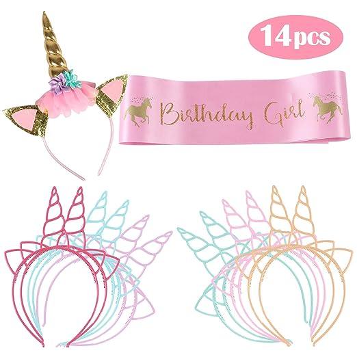 vamei cumpleaños Unicornio Conjunto de niña Incluye Banda ...