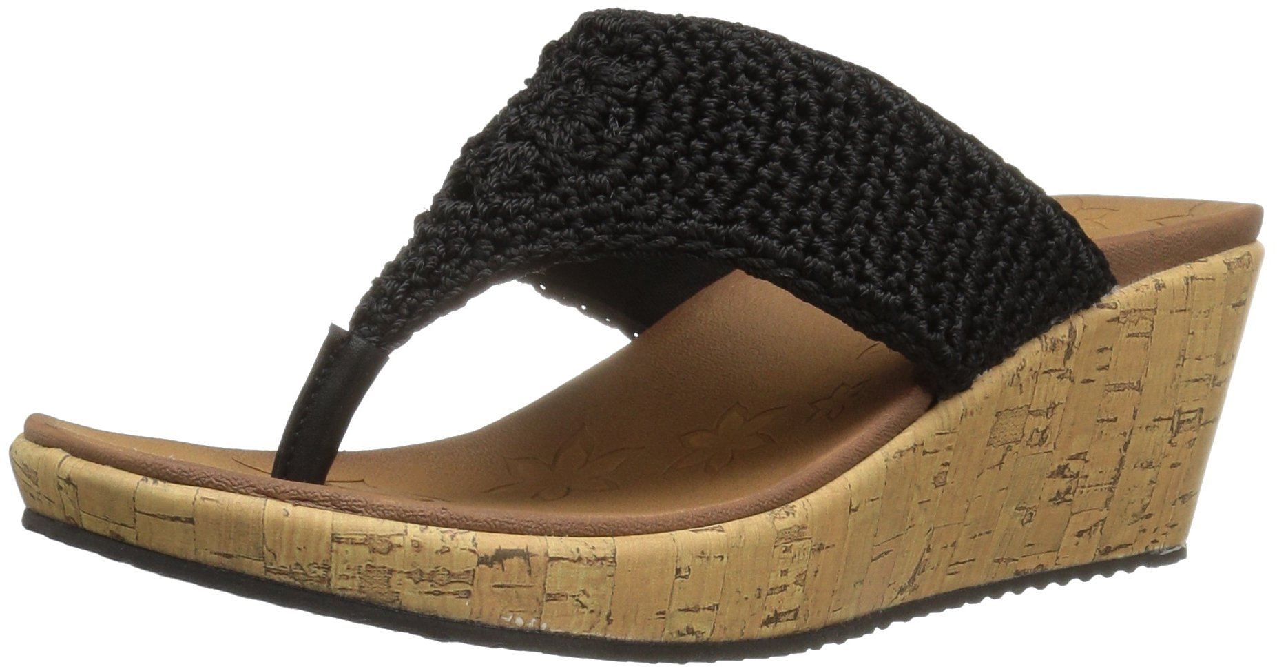 Skechers Cali Women's Beverlee Wedge Sandal,Black Crochet,9 M US