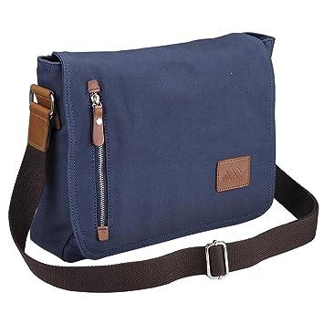 f89461e57e Image Unavailable. Image not available for. Color  AW 14 quot  Vintage  Canvas Cross Body Schoolbag Satchel Shoulder Messenger Bag Bookbag Men  Women Student