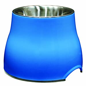 Dogit Elevated Dog Bowl, Stainless Steel Food and Water Dish for Large Dogs, Small, Blue
