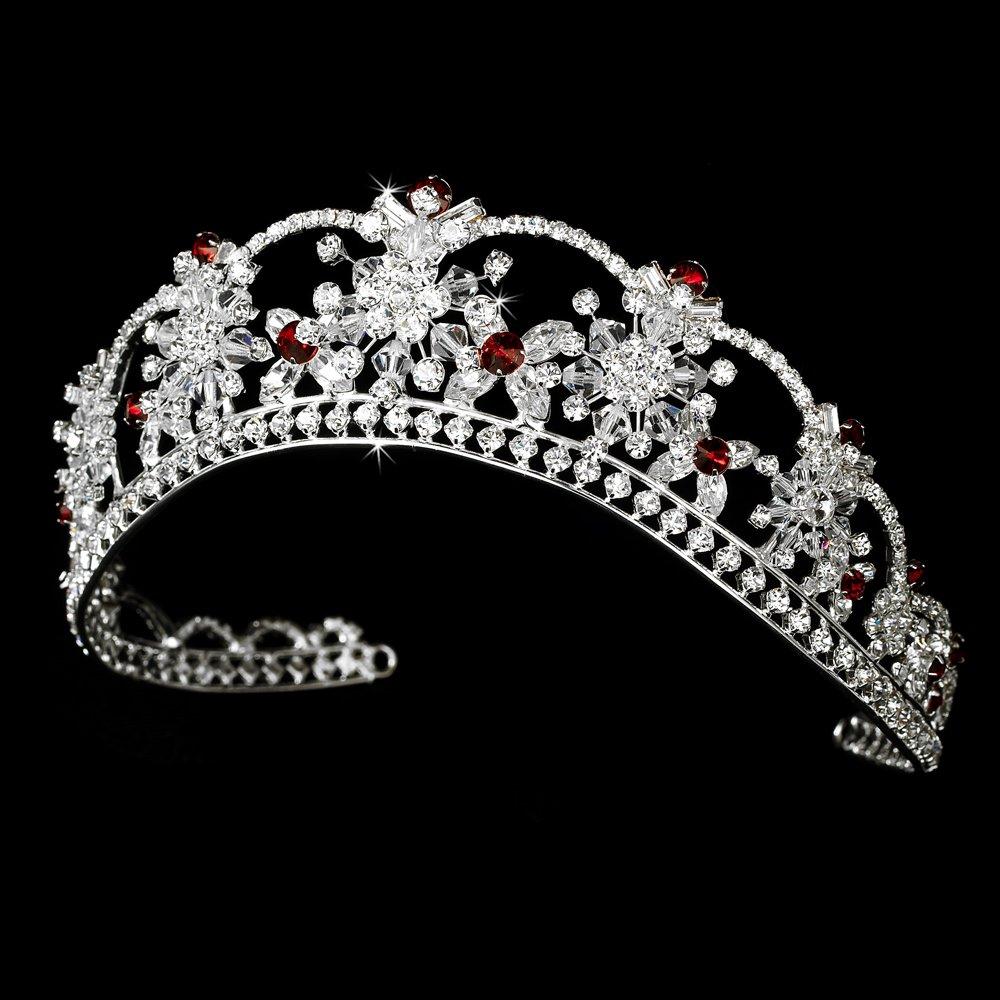 Alessia Sparkling Rhinestone & Swarovski Crystal Covered with Red Accents Wedding Bridal Tiara Headpiece