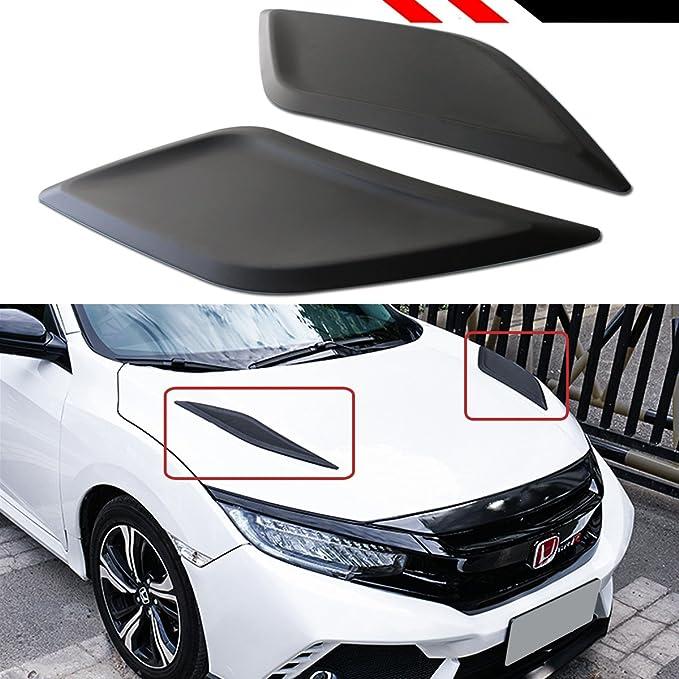 Car Vent Hood Cover Black 2X Car Front Hood Bonnet Long Side Louver Air Vent Covers Decor Fit for Civic 10th Gen 2016 2017 2018 Side Vent Hood