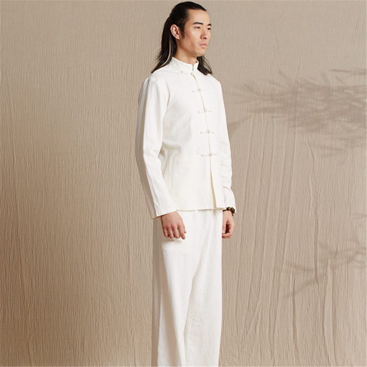 WEISAN Men Chinese Retro Stand Collar Tang Suit Cotton Linen Kung Fu Costume Jacket by WEISAN (Image #7)